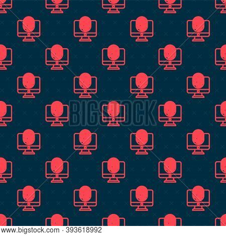 Red Line Monitor With Fingerprint Icon Isolated Seamless Pattern On Black Background. Id App Icon. I