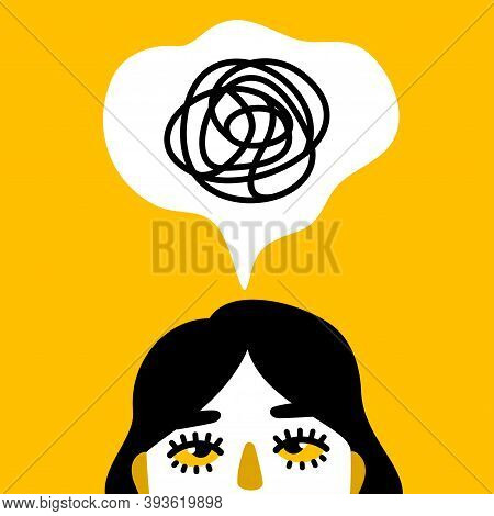 Female Face With Anxiety In Head, Depression And Adhd Concept. Vector Illustration. Woman With Menta