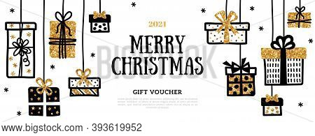 Gift Voucher With Hanging Doodle Gift Boxes, Black Line And Gold Glitter Texture On White Background