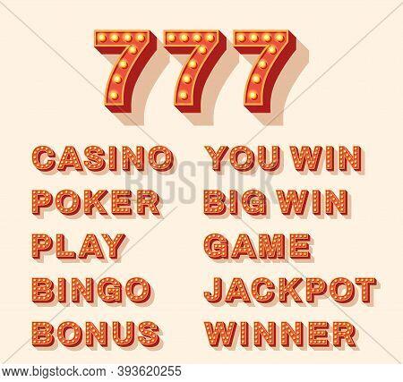Set Of Neon Light Bulb Signs For Casino. Vector Illustration. Icons For 777, Poker, Bingo, Big Win,