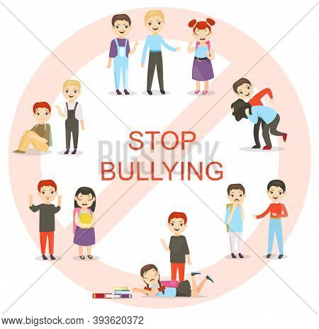 Vector Illustration Of Kids Bullying Set. Collection Of Aggressive School Children Conflicts In Flat