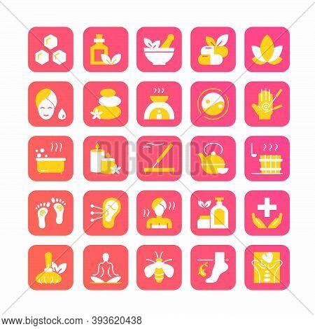 Ayurveda Icons Set, Cartoon Ayurvedic Collection With Symbols Of Naturopathic Alternative Medicine