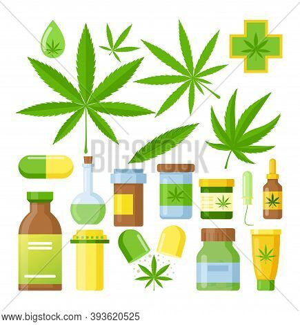 Cannabis Medicine Vector Illustration. Cartoon Flat Medical Marijuana Set With Hemp Oil Glass Bottle
