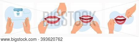 Vector Illustration Of Using Dental Floss Routine. Instruction How To Use Dental Floss Step By Step,