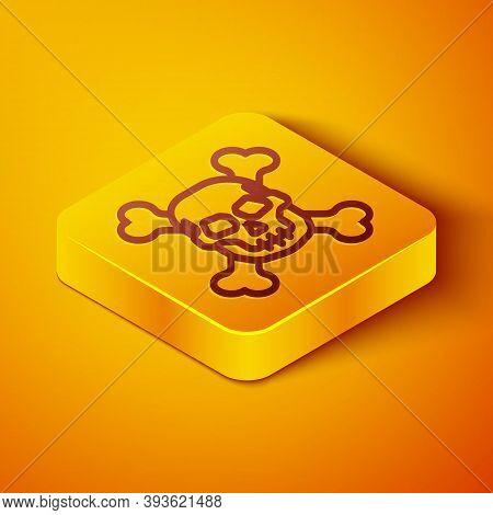 Isometric Line Skull On Crossbones Icon Isolated On Orange Background. Happy Halloween Party. Yellow