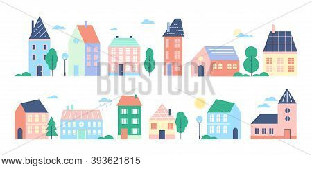 Town Or City Houses Vector Illustration Set, Cartoon Flat Cute Colorful Urban Cityscape Collection O