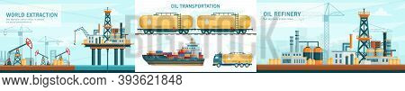 Oil Gas Industry Technology Flat Vector Illustrations With Offshore Crude Extraction, Transportation