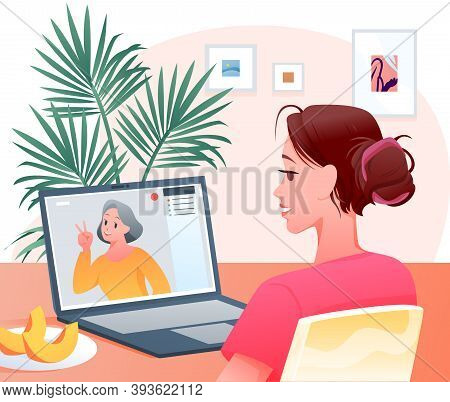 Video Call, Cartoon Happy Woman Character Making Videocall Chat Conference With Grandmother