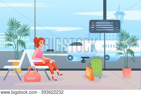 Wait In Airport Vector Illustration. Cartoon Flat Woman Tourist Passenger Character Sitting With Lug