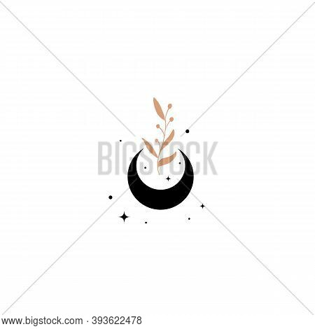 Fashion Beauty Moon Logo Template. Minamalism Style Moon Logotype. Elegant Moon Logo With Stars, Lea