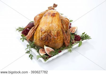 Traditional Roasted Turkey On White