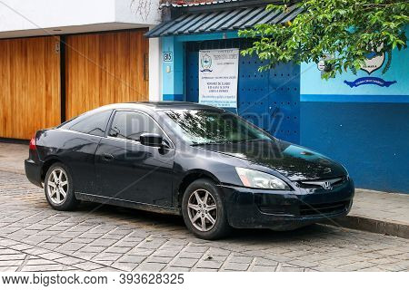 Oaxaca, Mexico - May 25, 2017: Black Coupe Honda Accord In The City Street.