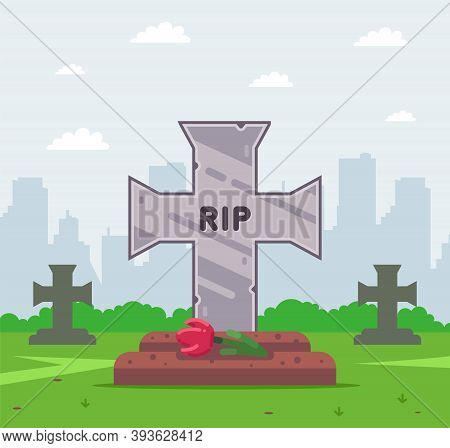 Fresh Grave In The Cemetery. Grave Cross. Flat Vector Illustration.