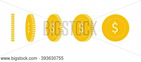 American Dollar Coins Set, Animation Ready. Usd Yellow Coins Rotation. Usa Metal Money In Different