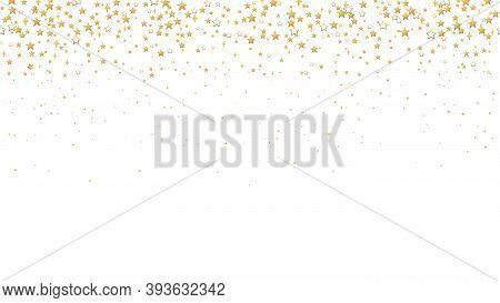 Gold Stars Confetti. Seamless Horizontal Pattern Random Starry Fall. Luxury Shiny Little Random Stel