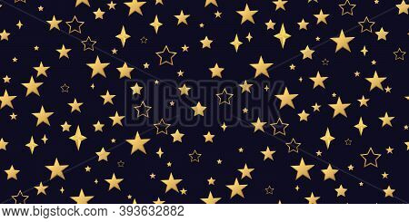 Seamless Pattern 3d Golden Stars Fly. Gold Sparkling Background With Star Dust Isolated On Black Bac