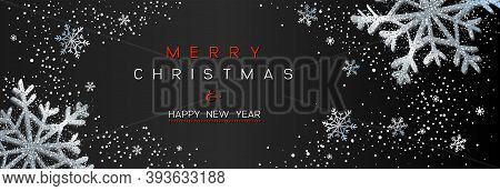 Christmas Poster On Black. Vector Illustration Of Christmas Background With Snow And Silver Snowflak