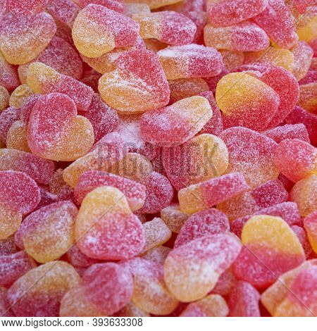 Colorful Sugary Candy Heart Shape Candy, Jelly, Background, Sweet.