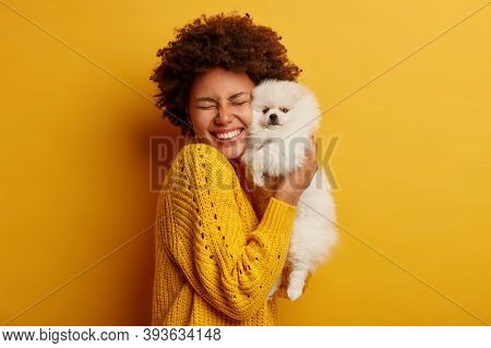 Pleased Happy Afro Girl Gets Lovely Puppy, Plays And Embraces Four Legged Friend With Love, Stands A
