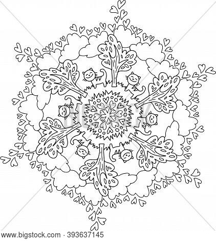 Snowflake, Cats And Trees, Coloring In Mandala, Circular Illustration Of Snowflakes From Plants And