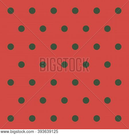 Christmas And New Year Pattern Polka Dots. Template Background In Red And Green Polka Dots . Seamles