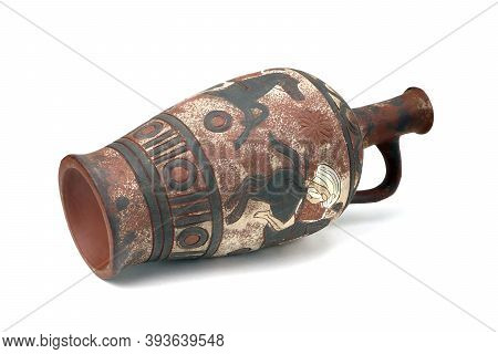 Old Clay Jug Isolated On A White Background. Ancient Wine Jug. Clay Jar. Clay Ewer. Old Jugful. Anci