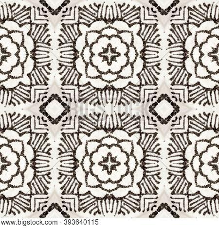Aztec Rugs. Black And Whitee Seamless Texture. Abstract Shibori Motif. Seamless Tie Dye Ornament. Ik