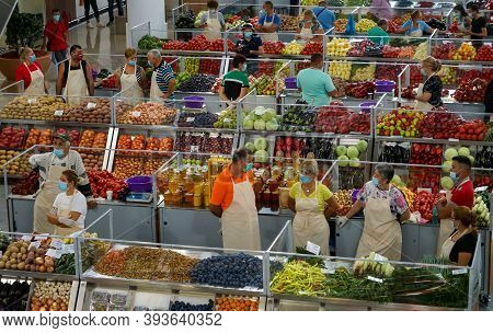 Bucharest, Romania - August 11, 2020: The Stalls Of The New Agri-food Market Piața Sudului During Th