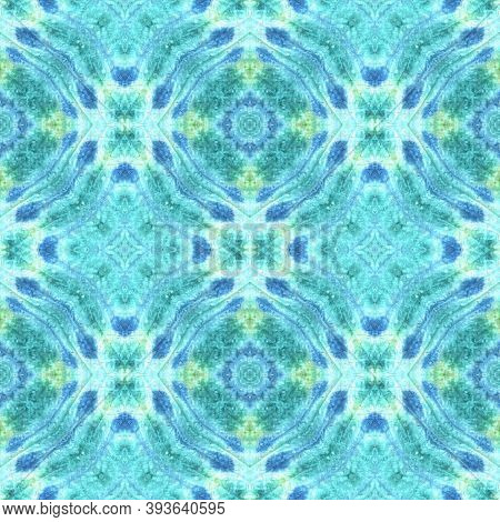 Tie Dye Seamless Pattern.  Colorful Natural Ethnic Illustration. Traditional Backdrop.  Blue And Yel