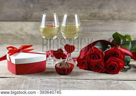 Valentine's Day Concept Valentine's Day. Red Rose With Petals On A White Background. Valentine's Car