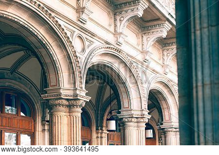 Architecture Arches In Baroque Style . Details Of Architectural Arches And Columns . Vienna Opera Bu