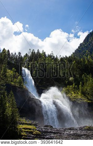 View Of Cascade Du Rouget (rouget Waterfalls) In Sixt-fer-a-cheval In Haute-savoie France