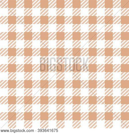 White Brown Gingham Lumberjack Buffalo Tartan Checkered Plaid Seamless Pattern. Texture For Fabric,