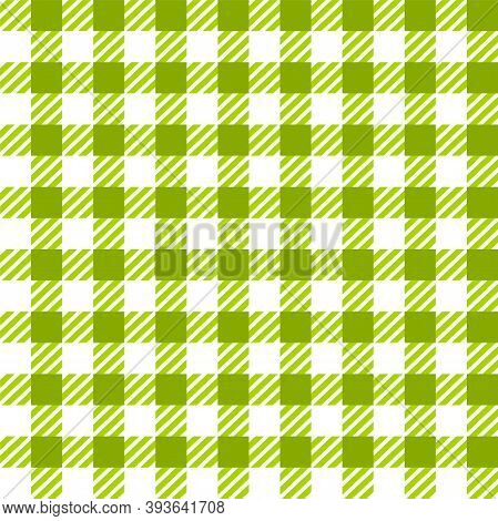 Green White Gingham Lumberjack Buffalo Tartan Checkered Plaid Seamless Pattern. Texture For Fabric,