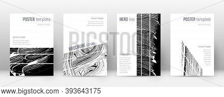Cover Page Design Template. Geometric Brochure Layout. Bizarre Trendy Abstract Cover Page. Black And