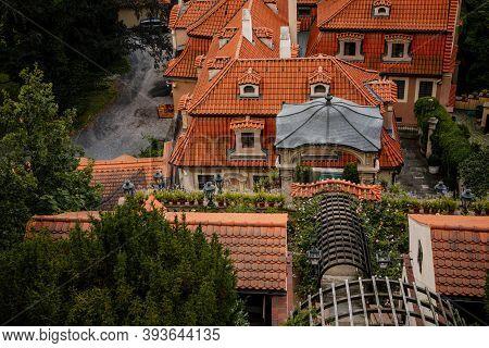 Terraced Gardens Below Prague Castle, View Over Red Rooftops From Small Fürstenberg Garden In Distri
