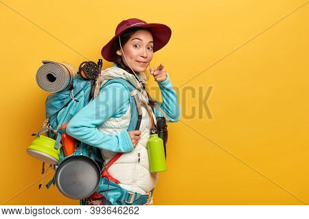 Confident Korean Tourist Points At You, Asks To Join Trip, Enjoys Hiking With Rucksack, Leads Health