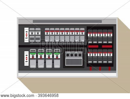 Electrical Panel, Switch On Off,breakers Vector Flat, Circuit Breakers