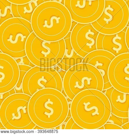 American Dollar Coins Seamless Pattern. Flawless Scattered Usd Coins. Big Win Or Success Concept. Us