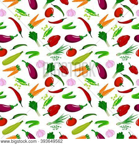 Pattern With Different Vegetables. Vector Illustration Isolated On White Background. For Cafes, Rest