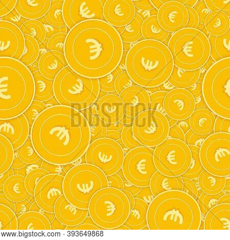 European Union Euro Coins Seamless Pattern. Worthy Scattered Eur Coins. Big Win Or Success Concept.