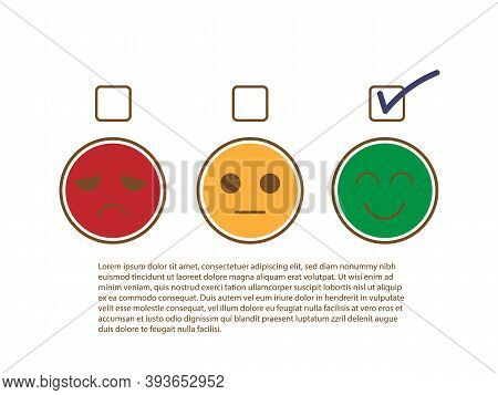 Tick Sign On Happy And Smile Face To Show Good Feedback Rating And Positive Customer Service Review,