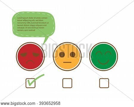 Tick On Unhappy Face And Speech Bubble For Complain To Show Bad Feedback Rating And Negative Custome