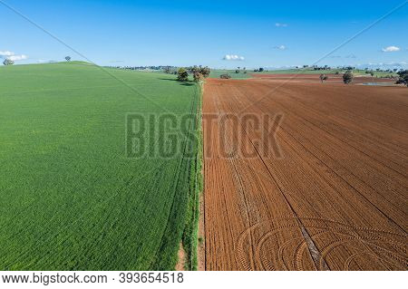 Aerial View Of Cultivated Farmland Near Cowra In The New South Wales Central West. This Land Can Be