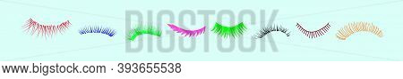 Set Of Eyelashes. Cartoon Icon Design Templates With Various Models. Modern Vector Illustration Isol