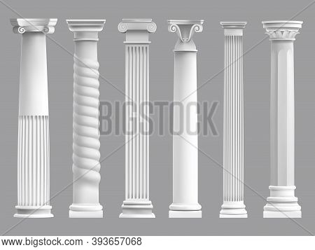 Antique Greek Pillars. Greek Ancient Column, Historic Roman Culture Pillars. Architectural Classic C