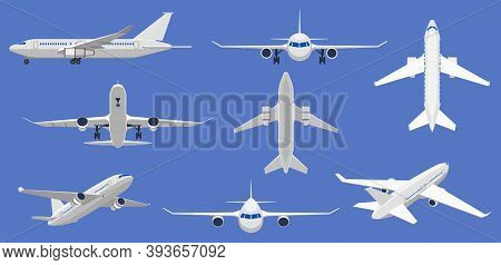 Airplane Flight. Aircraft Plane In Front, Side And Top View, Passenger Plane Or Cargo Service Aircra