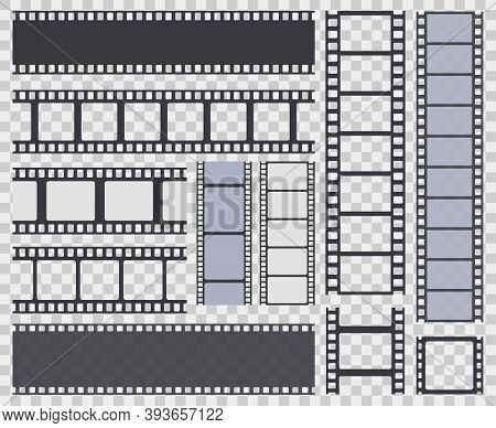 Film Strip. Retro Movie Strip Border, Cinema Monochrome Photo Or Video Framed Filmstrip. Vintage Cin