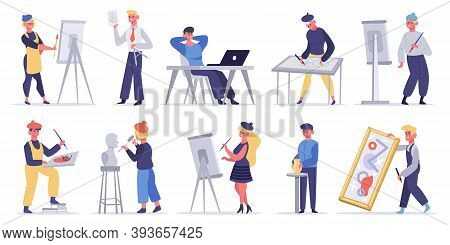 Artists Creative Characters. Artistic Professions, Painter, Sculptor And Craftsman. Male And Female