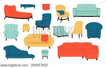 Armchairs And Couches. Modern Comfortable Soft Furniture, Couch, Sofa, Stool And Chair. Living Room